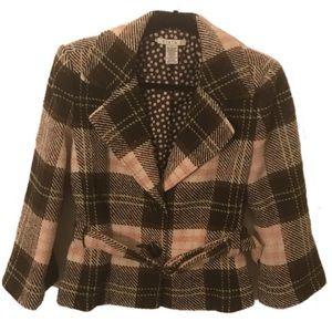 CAbi Brown & Pink Kate Plaid Wool Belted Jacket